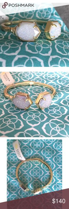 NWT Kendra Scott Jan Iridescent Window Druzy Absolutely gorgeous druzy stones set in a pretty hinged bracelet! Add some sparkle to your wrist with this one size fits most bracelet! Add to your collection or start a new one! Perfect condition, never worn! Kendra Scott Jewelry Bracelets
