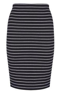 Black/White Striped Pencil Skirt