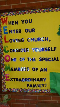 Bulletin board for church anniversary Church Activities, Preschool Church Crafts, Children's Church Crafts, Rainbow Activities, Youth Activities, Church Nursery Decor, Kids Church Decor, Church Ideas, Sunday School Decorations
