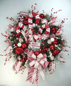 Candy Cane Red White Merry Christmas Wreath by Ed The Wreath Guy #EdTheWreathGuy