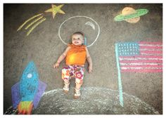 We landed on the moon! chalk art