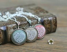Valentine's Lace Necklace Embroidered Heart Pendant Valentines Day Gift for Her Custom Jewelry Colorful Necklace Cross Stitch Boards, Mini Cross Stitch, Cross Stitch Heart, Cross Stitching, Cross Stitch Embroidery, Cross Stitch Tutorial, Lace Necklace, Valentines Day Gifts For Her, Handmade Accessories
