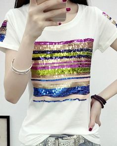 Colored striped sequins t shirt for women white plus size tee short sleeves 4fa7e05e785b