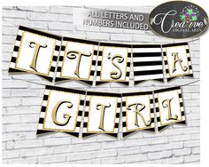 Baby shower BANNER decoration printable with black white stripes color theme, glitter all letters, digital files, instant download - bs001 #babyshowerparty #babyshowerinvites