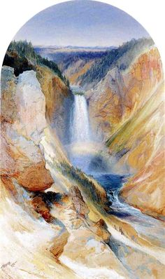Thomas Moran (1837 – 1926) originally from Bolton, England was an American painter and printmaker of the Hudson River School in New York    1872+Wyoming+Fall,+Yellowstone+River+watercolour+33+x+44.4+cm.jpg (817×1378)