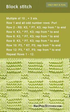 The Blocks stitch pattern includes both written and charted directions. The Blocks stitch pattern includes both written and charted directions. Dishcloth Knitting Patterns, Knitting Stiches, Knit Dishcloth, Knitting Charts, Loom Knitting, Crochet Stitches, Hand Knitting, Beginner Knitting, Knitting Needles
