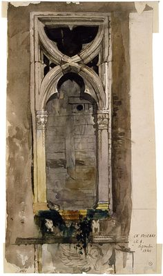 John Ruskin, painted in Venice 1845. In 1845 Ruskin made meticulous sketches of details of Venetian architecture, and many (but not this one) were reproduced as illustrations to his book. Ruskin argued that Venetian Gothic architecture was a good example of a flourishing cultural unity, of a kind that had been almost lost in his own day, and he used the exquisite details found in the buildings of Venice to prove his case.