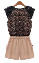 Pink Black Sleeveless Lace Belt Jumpsuit - Sheinside.com