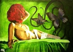 Butterfly Kisses.   Painting by my talented friend, South African artist, Jacqui Simpson www.thepaintingcave.com