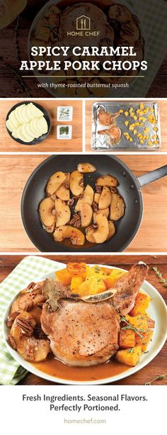Spicy Caramel Apple Pork Chops with thyme-roasted butternut squash