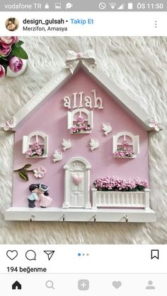 Clay Art Projects, Clay Crafts, Diy Arts And Crafts, Creative Crafts, Thomas Kinkade Art, Baby Frame, Felted Wool Crafts, Fabric Brooch, Wooden Wall Decor