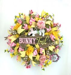 Burlap Bunny Wreath in Yellow & Pink w Bunny Trail Sign by www.southerncharmwreaths.com