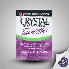 Crystal is the world's #1 selling mineral salt deodorant brand. Our natural mineral salts form an invisible layer on your skin that inhibits the growth of odor causing bacteria. Crystal prevents, rather than covers up, body odor and is gentle on your skin, won't stain clothes or leave a white residue.     Unscented Crystal Body Deodorant Towelettes are the perfect portable deodorant solution if you're constantly on the go.  Crystal deodorant products are available at CVS, Walgreens, Rite…