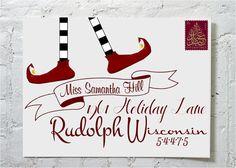 Christmas Card ELF- Dashingly Chic Calligraphy Envelope Addressing