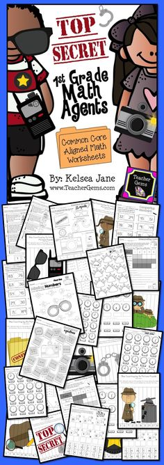 This first grade math agents packet is full of fun activities! Printables include cut and paste activities, worksheets, and puzzles. #TeacherGems