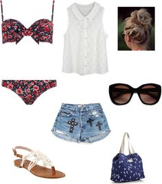 """""""pool party outfit"""" by gabriella-zabala ❤ liked on Polyvore"""