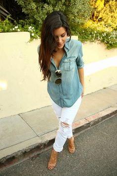 Great way to style your white denim