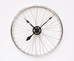 Recycled Bike Wheel wall clock.