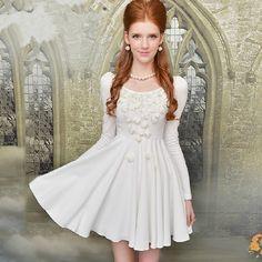 2013 Autumn Puff Long Sleeve Flower Decorate Round Collar White Dress