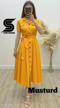 Yellow Skirt Outfits, Yellow Clothes, Crop Top Outfits, Stylish Dresses For Girls, Frocks For Girls, Simple Dresses, Indian Fashion Dresses, Fashion Outfits, Fashion Design Books