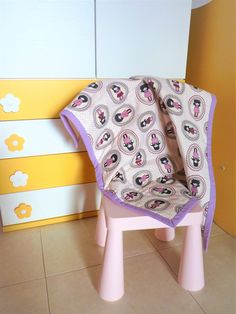 Baby girl stroller blanket with dolls, baby blanket light purple and white, quilted blanket for stroller, baby shower gift ready to ship.