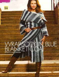 X007 Crochet PATTERN ONLY Blue Blanket Coat & by BeadedBundles, $3.95