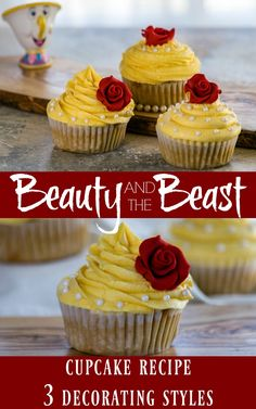 Looking for a delicious Beauty and the Beast inspired cupcake recipe? This one has a caramel cupcake with white chocolate buttercream frosting and is super easy to make and decorate!