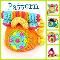 This adorable telephone pattern will turn into the perfect baby shower gift! A delightful and colorful addition to any nursery or playroom! This listing is for a PDF crochet telephone pattern in English. It comes with the option of photos or no photos. You are welcome to sell the finished toy. Please provide a link to this shop. Skill level: Easy but not for beginners. Tutorial links are provided. Finished toy measures about 6x 6. Telephone dial turns! Materials: Worsted weight yarn - Lil...