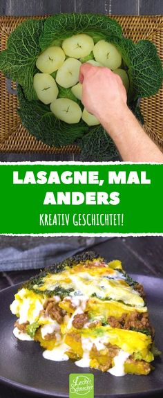 Lasagne mit Wirsing, Hackfleisch und Kartoffeln Lasagna, with a difference. Creatively layered with savoy cabbage, minced meat and potatoes. Vegetarian Crockpot Recipes, Meat Recipes, Pasta Recipes, Food Processor Recipes, Chicken Recipes, Dinner Recipes, Healthy Recipes, Delicious Recipes, Potato Lasagna