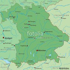 Vektor: Bundesland Bayern - Landkarte in Grün
