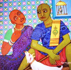 """Art of the day, """"Happy moments"""" by Valluri Swamy   A couple spends some quality time together.  #Artsmelange #ArtMeetsArtHere"""
