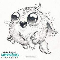 Chris Ryniak - morning scribbles - cute and funny art Cute Monsters Drawings, Cartoon Drawings, Easy Drawings, Cartoon Art, Monster Sketch, Monster Drawing, Coloring Books, Coloring Pages, Drawing Artist