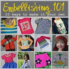 10 Amazing ideas for embellishing clothes for kids, teens, adults with paint, bleach, iron on, etc. Easy and fun