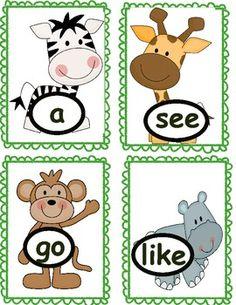 Jungle Themed Kindergarten Sight Word Cards by Mrs Burgen's Sign Me Up Abc Phonics, Phonics Reading, Kindergarten Reading, Kindergarten Classroom, Kindergarten Activities, Classroom Crafts, Classroom Themes, School Themes, Preschool Jungle