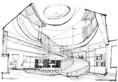 Joyce Wang Studio, based in London and Hong Kong, is an award-winning interior design practice with a reputation for luxury interiors. Interior Architecture Drawing, Architecture Concept Diagram, Interior Design Sketches, Architecture Plan, Classical Architecture, Architecture Sketchbook, School Architecture, Architecture Details, Perspective Sketch