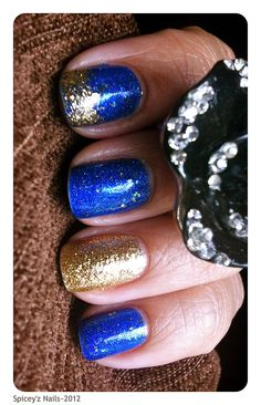 "Nail Art~  A'dor Beauty Supplies [Vegan Polish] ~ ""Starry""  Accent~ Julep ""Oscar""  https://www.facebook.com/photo.php?fbid=192057004253485=a.158056720986847.32542.158048860987633=1"