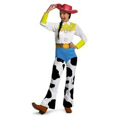 Toy Story Jessie Classic Adult Costume Yes she's Jessie, the Yodelin' Cowgirl from the classic Disney Pixar Movie! Costume includes: Printed jumpsuit and cowboy hat. Available sizes: Small Medium Large (C) DISNEY/PIXAR.