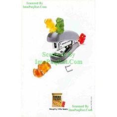 Haribo: Gold-Bears: Naughty Little Bears: Gummy Bear gets Stapled, Stapler: Great Original Photo Print Ad!