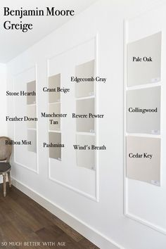 Many Benjamin Moore Greige paint colors on wall. Greige Paint Colors, Neutral Paint Colors, Interior Paint Colors, Paint Colors For Home, Best Paint For Walls, Bathroom Paint Colours, Indoor Paint Colors, Nursery Paint Colors, Best Gray Paint Color