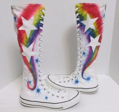 CONVERSE All Star Chuck Taylor Knee High Rainbow Star Boot White Mens 6 Womens 8 #Converse #Athletic #Pride