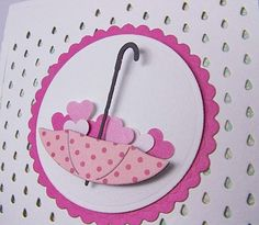 Don't have the rain drop but can use Polka dot folder instead and cut umbrella from cricket calendar set