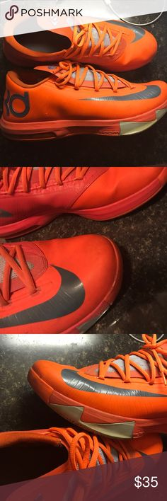 """Nike KD 6 """" Total Orange"""" size 13.5 Nice pair of Kevin Durant shoes, a few scuff marks on the toe heel and around the shoe but overall nice quality shoe! Nike Shoes Athletic Shoes"""