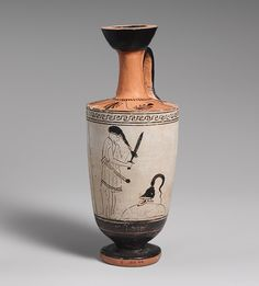 Lekythos (oil flask), ca. 470–460 B.C.; Classical; White ground with red-figure  Attributed to the Painter of the Yale Lekythos  Greek, Attic  Terracotta