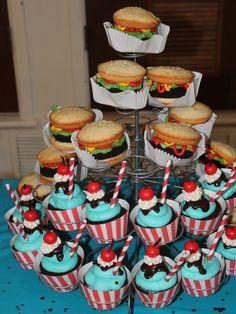 Cupcakes Birthday Mom Party Ideas Ideas For 2019 Grease Themed Parties, 50s Theme Parties, Grease Party, 13 Birthday Cake, 13th Birthday Parties, Birthday Dinners, Cupcake Ideas Birthday, 12th Birthday, Themed Cupcakes
