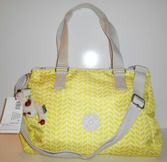 NEW NWT KIPLING Katarina Handbag Satchel Crossbody Elec Lime Print Nylon HB6721 #Kipling #SatchelCrossbody