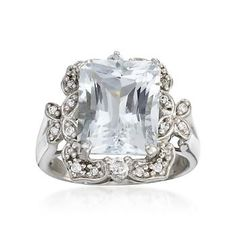 4.10 Carat Aquamarine and .35 ct. t.w. White Sapphire Ring In Sterling Silver.