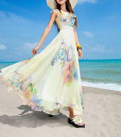 Maxi Chiffon Beach Dress Beige Print by on Etsy Stylish Dresses, Cheap Dresses, Fashion Dresses, Summer Dresses, Chiffon Maxi Dress, Floral Maxi Dress, Dress Skirt, Maxi Dresses, Bodycon Dress