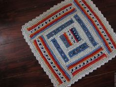 """Купить Текстильный коврик """"Квадратик"""" - белый, голубой, оранжевый, красный, коврик, половик, бабушкин коврик"""