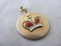 """antique Art Deco c1920 14k yellow gold enamel crown pendant fob charm 2.8cm 1.2"""""""