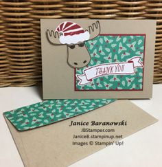 #JBStamper, Jolly Friends, Jolly Hat Builder punch, Bunch of Banners framelits, Crumb Cake notecards & envelopes, thank-you-jolly-friends-green